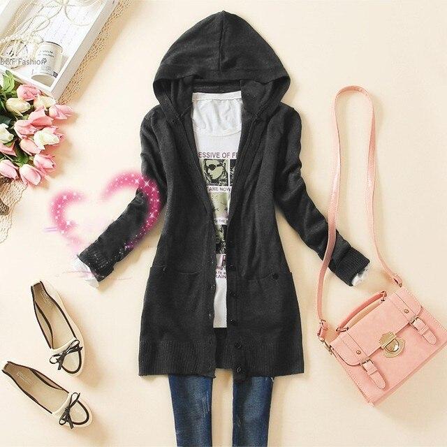 Горячая новинка осень женская свободного покроя с длинным рукавом вязаный свитер Outerwears средней длины с капюшоном женщин кардиган пальто 51