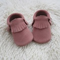 Handmade Pink Suede Leather Baby Moccasins Baby Shoe