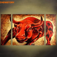 CHENISTORY 3 Panels Red Cattle Hand Painted Oil Painting Modern Abstract Home Wall Art Picture Large