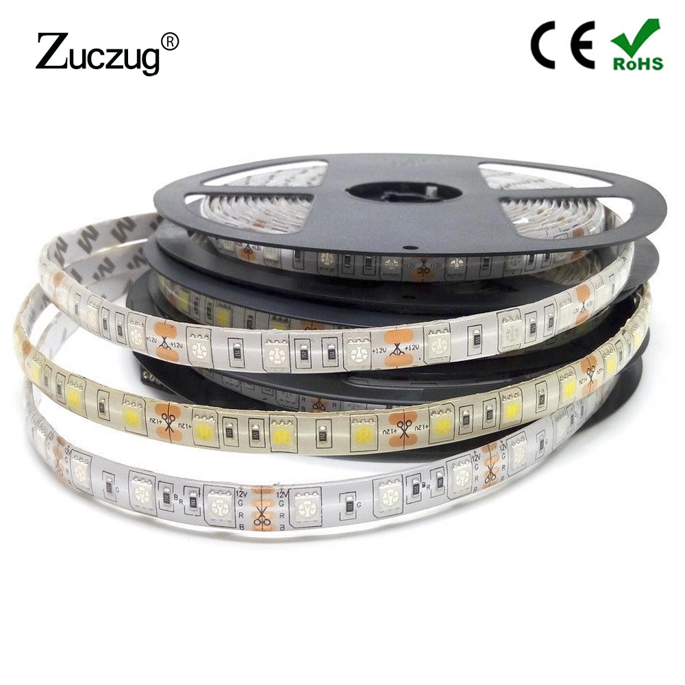 Led Strip Light 12 V 1 5 M Tape 5050 Not Waterproof 60LED/M 12V LedStrip PC Lamp Diode Ribbon Warm White Blue Red Yellow Green