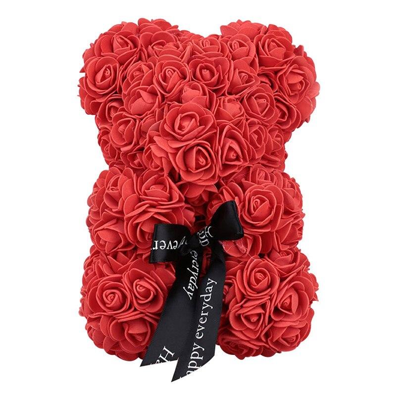 Искусственные цветы розы Медведь собака кролик Мопс юбилей день Святого Валентина подарок на день рождения мать подарок Свадебная вечеринка украшение - Цвет: 23CM Red Bear