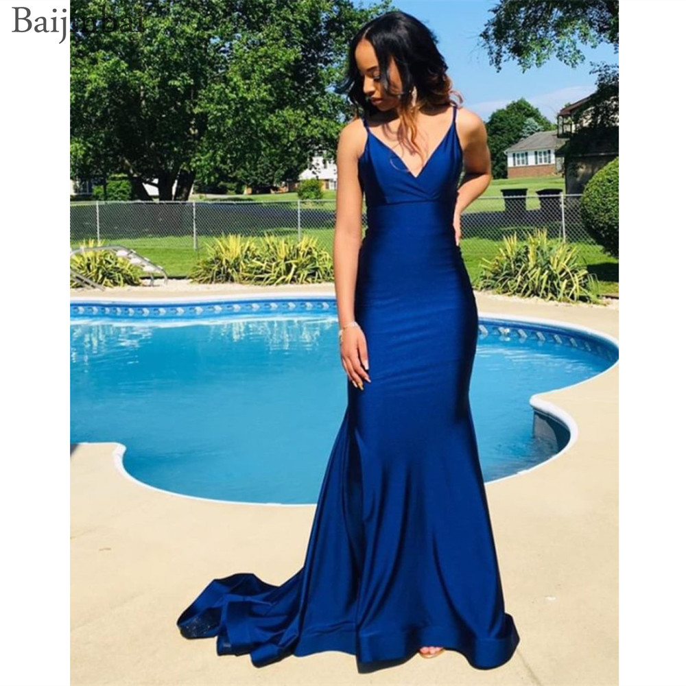 Baijinbai vestidos de festa Spaghetti Straps   Prom     Dress   Royal Blue Sleeveless Evening Gowns Zipper Backless Formal Long   Dresses