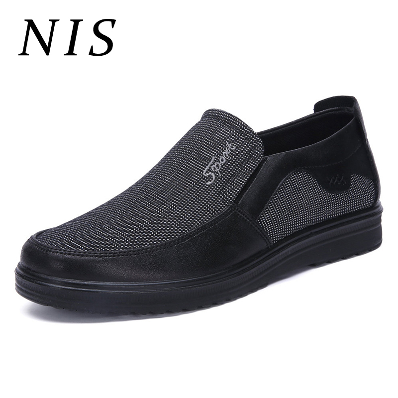 NIS Men Shoes Casual Old Beijing Style Breathable Cloth Slip On Shoes Men Soft Spring Summer Flats Sneakers Plus Size 39-50 New туфли beijing cloth shoes 102 2015