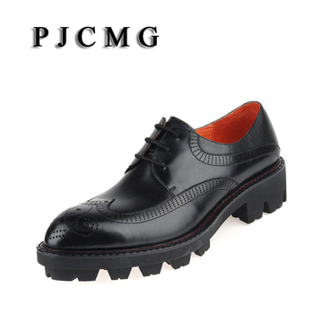 PJCMG Brand New Fashion High Quality Genuine Leather Business Dress Thick Soles Lace-Up  BLACK/WINE Breathable Oxfords Men Shoes