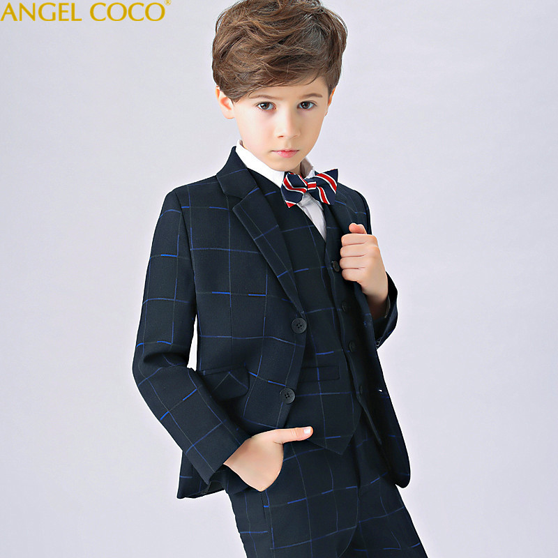 купить England Style Man Child Blue Boy Suit Tuxedos Boys Formal Suits Boys Formal Suits For Weddings Terno Infantil Costume Garcon по цене 6418.96 рублей