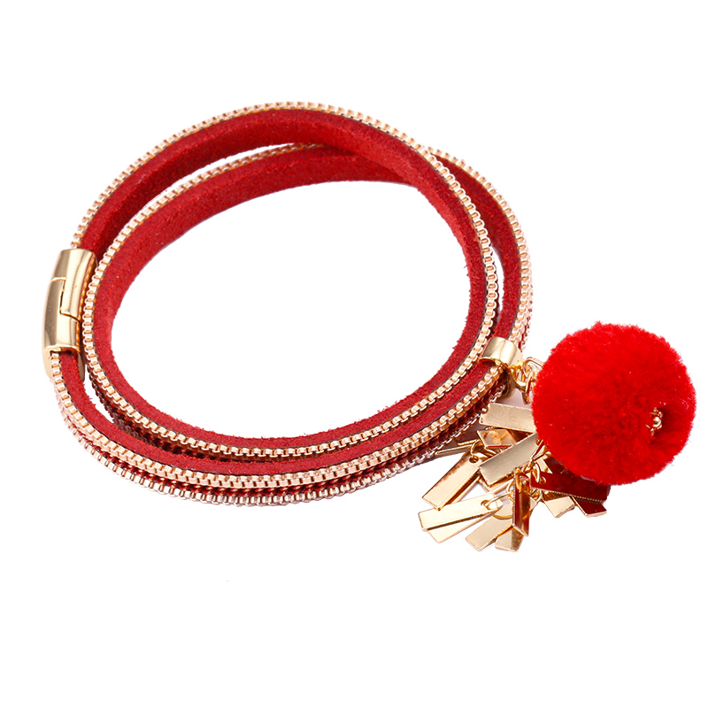 Creative Fashion Bracelet&bangles National Style Magnet Buckle Bracelet Long Bracelet Jewelry Cute Pu Bracelet Hair Ball Durable Modeling