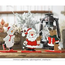 Christmas Wooden Painted Decoration Old Man Snowman Elk Desktop Small Ornaments Detachable for Home Party Decor Kids Gift Home top resin swing old man old lady ornaments desktop crafts cartoon old parents figurine home decor accessories wedding gifts