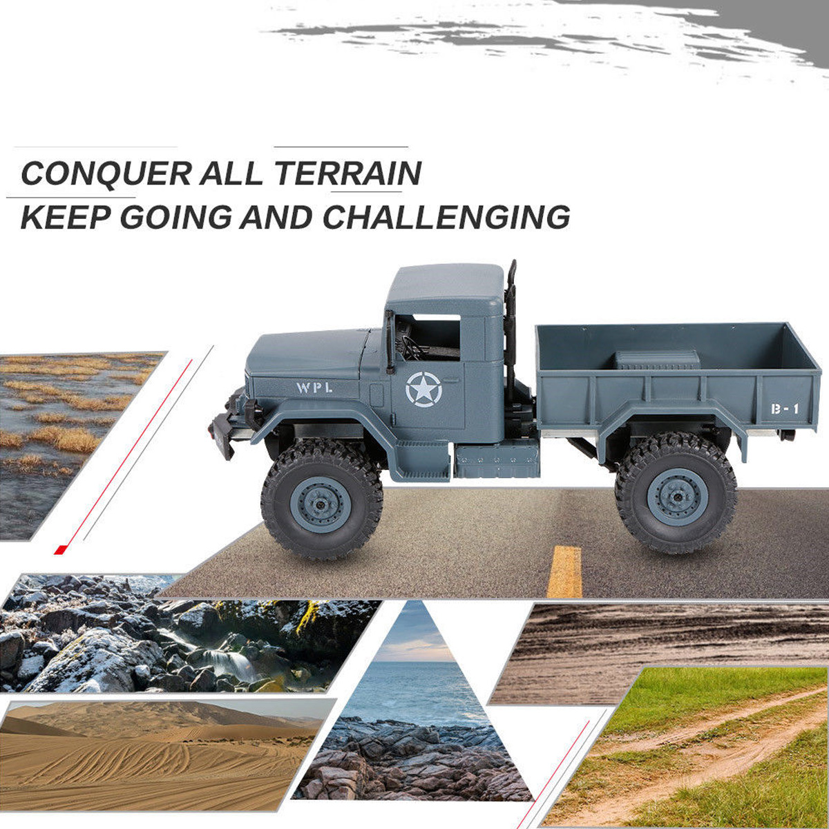 WPL B-1 1/16 2.4G 4WD Military Truck Four-wheel Drives Off-road Climbing Car Model 1:16 Remote Control Cars Boys Top Toys sognare wall shower faucets with hand shower head chrome polished double handle bathroom shower faucet set bath faucet tap d5206