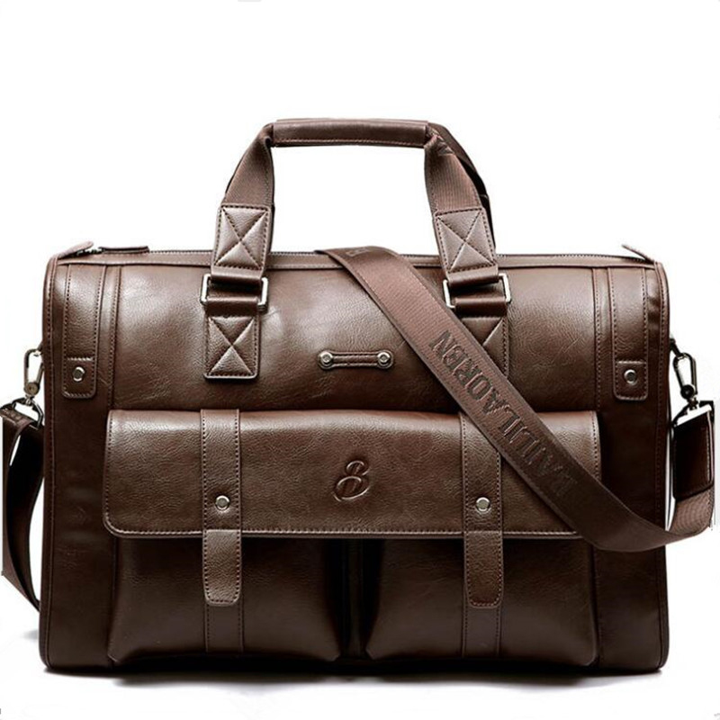 Men's Briefcase Computer-Bag Business Travel Real-Leather Luxury New Male Cow