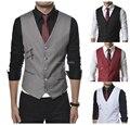2015 autumn and winter European style  men's bag buckles  side zipper pocket decoration  leisure  vest  4 color