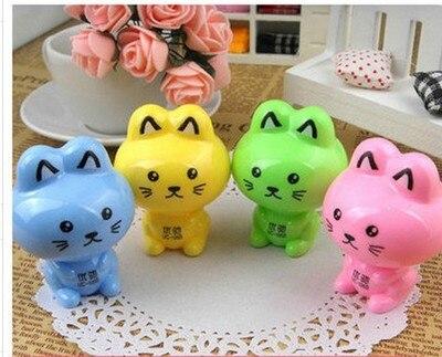 Cute Kawaii Cartoon Cat Plastic Pencil Sharpener Machine For Kids Gift School Supplies Korean Stationery Free Shippin