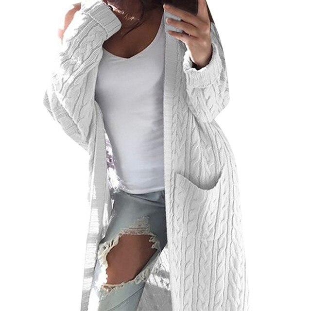 Kimono Cardigan abrigo mujeres Jumper bolsillos suéter mujeres cálido suéter tejido grueso femenino ropa de invierno mujeres 2018