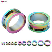 JOVIVI 24pcs Stainless Steel Blue/Colorful/Gold Screw Tunnels Ear Plugs Stretcher Expander Body Piercing Gauges 12ga-3/4