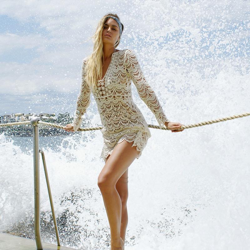 17 Swimsuit Cover Up Women Sexy Beach Cover-Ups Lace Crochet Swimwear Beach Wear Swim Skirt Saida De Banho Smock Sarongs Tunic 2