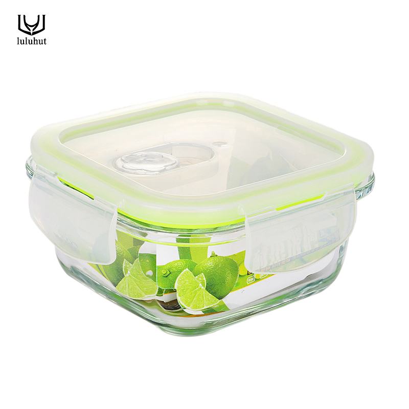 luluhut square Borosilicate Glass Food Container Lunch Box Bento lunch box fruit vegetable food Microwavable fresh