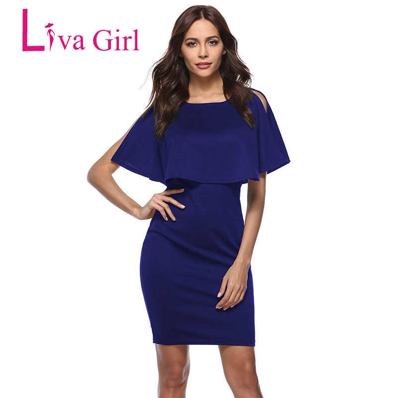 966e4f2248 Liva Girl 2019 Elegant Women Party Dresses O-Neck Ruffles Short Sleeve  Office Lady Bodycon