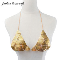 Summer Beach Sexy Body Chain Triangle Metal Bra Chest Chain Necklace Pendant Femme Snake Chain Necklace