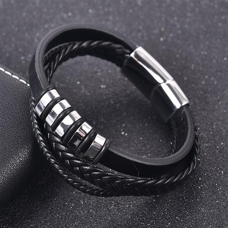 Jiayiqi Men Multilayer Braided Leather Bracelet Stainless Steel Magnetic Clasp Bangles Fashion Punk Male Jewelry jiayiqi fashion multilayer genuine leather bracelet for men jewelry stainless steel bangle punk braid black brown chain magnetic
