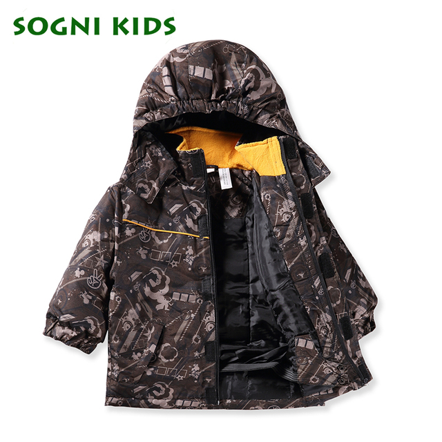 SOGNI KIDS Boy Print Outwears Waterproof  Snow Jackets Toddler Removable Hooded Baby Boy Adjustable Waist Zipper Trench Coats