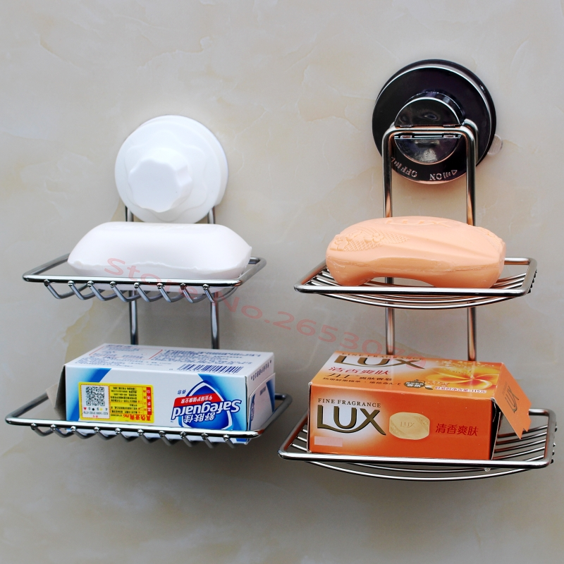 Fashion strong <font><b>suction</b></font> <font><b>cup</b></font> <font><b>double</b></font> layer box soap dishes water bunk holder <font><b>stainless</b></font> <font><b>steel</b></font> bath <font><b>basket</b></font>