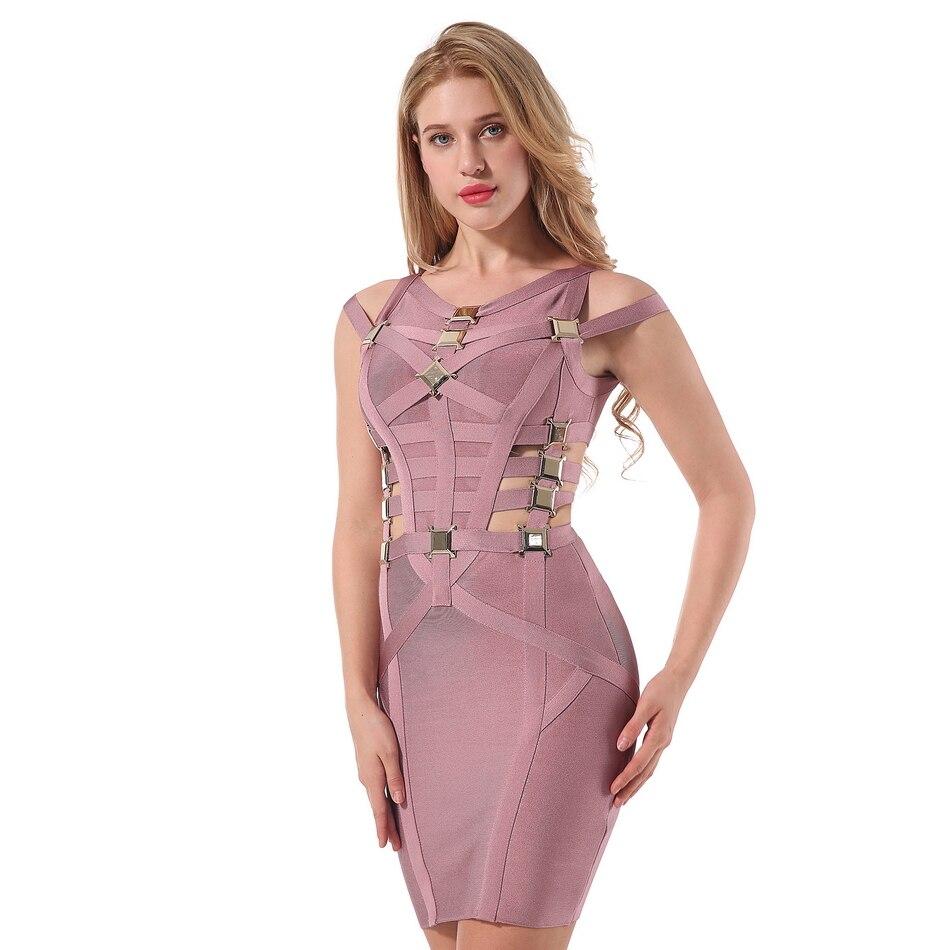 2018 Elastic Women s Sexy Bandage Dress Midi O Neck Sexy Club Evening Party Celebrity Bodycon