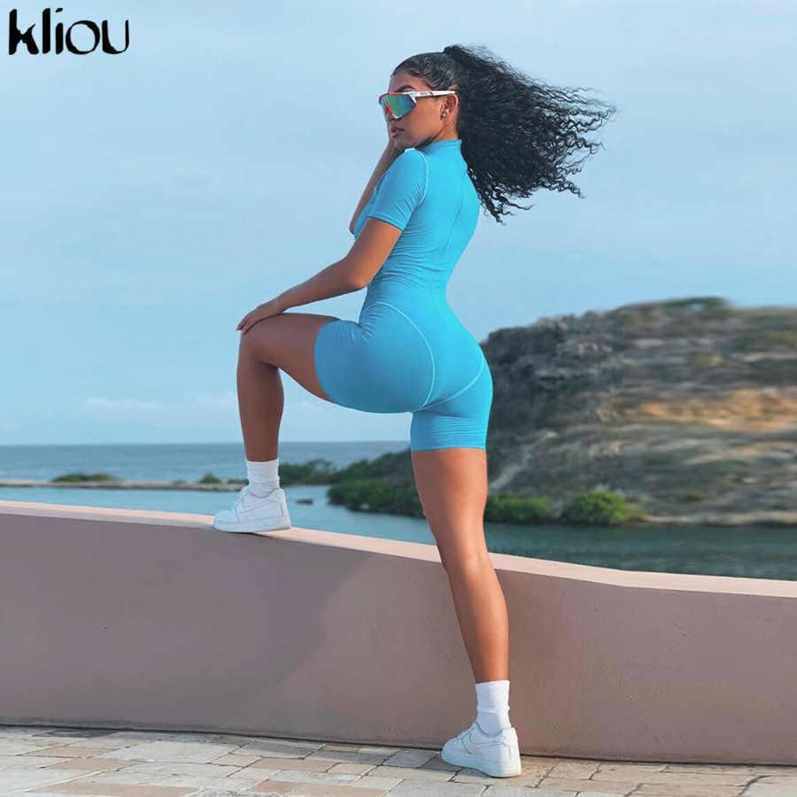 Kliou mulheres magro bodysuit manga curta playsuit reflexivo carta impressão macacão 2019 feminino gola alta moda casual bodysuit