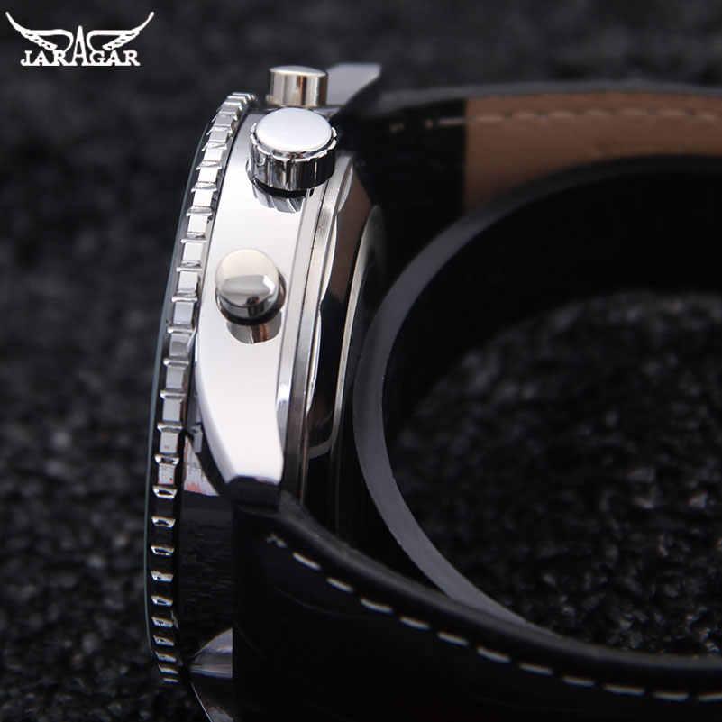 JARAGAR 高級機械式時計自動 6 ピンカレンダービッグダイヤルストラップ腕時計 montre オム relojes suizos