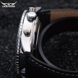 Image 3 - יוקרה JARAGAR מכאני שעונים גברים קלאסי אוטומטי 6 פינים לוח שנה גדול חיוג רצועת שעוני יד montre homme relojes suizos