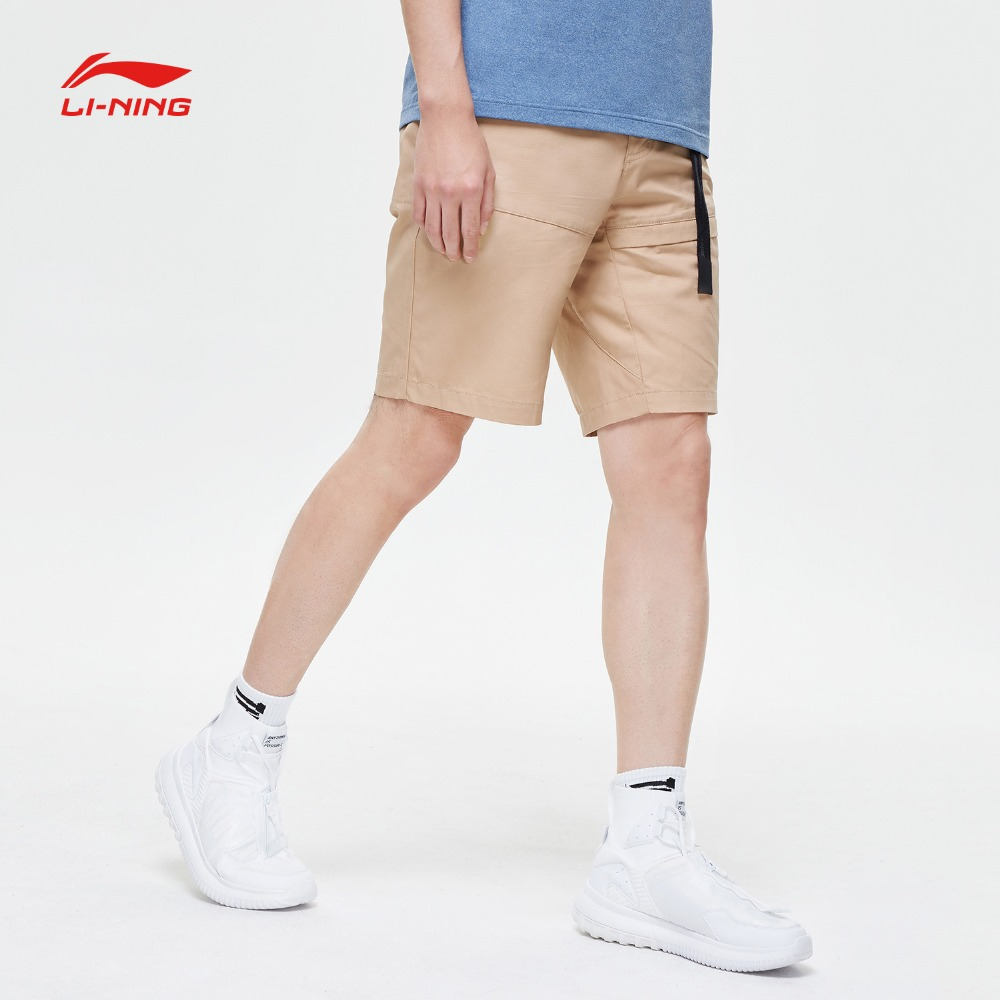 Li Ning Men The Trend Walkshorts Cotton Breathable Regular Fit Adjustable Waist LiNing Sports Shorts AKSP097 MKD1624-in Trainning & Exercise Shorts from Sports & Entertainment    2
