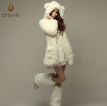 New Autumn and Winter Princess Bear Ears White Colors Animal Hoodies With Ears Cute Hoodies Women Coats Free Shipping