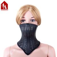 Davidsource Black Leather Kufa Maska Dla Blokady Bondage Sex Slave Regulowanymi Ramiączkami Klamry Pasa Podbródek Perwersyjne Sex Produkt