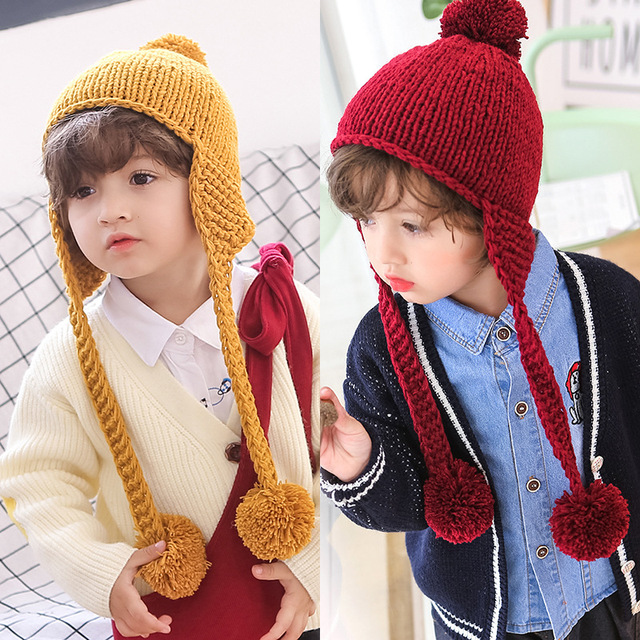 Autumn winter baby boy girl wool warm hat handmade solid color big ball  earmuff pompom baby hat caps newborn photography props 8cf51613b03e