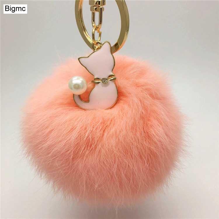 A nova pele saco cadeia chave do carro pingente pingente jóias acessórios bola de cabelo real do coelho K1100