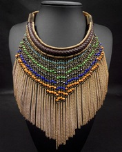 2017 nueva moda de joyería fina de color de la mezcla collar bohemio étnico collar de la borla de big largo oro beads choker collar de la mujer