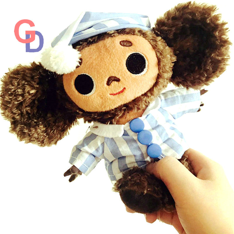 Super cute Big Eyes monkey With Hat plush toy cheburashka soft doll Russia Anime toy baby kids sleep appease doll lovely middle plush monkey toy cute yellow coat monkey toy doll gift about 65cm 0127