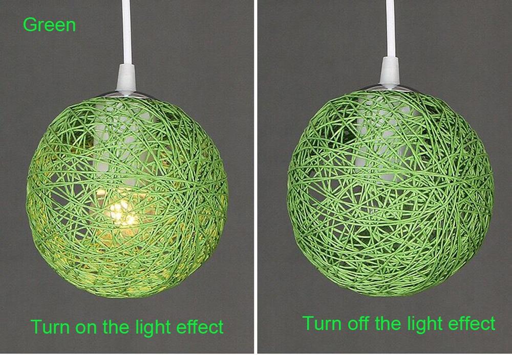 LED Pendant Lights Weaving Bamboo E27 Idyllic Rattan Hanging Lamps Colorful Lighting Dining Room Restaurant Linen Art Light8