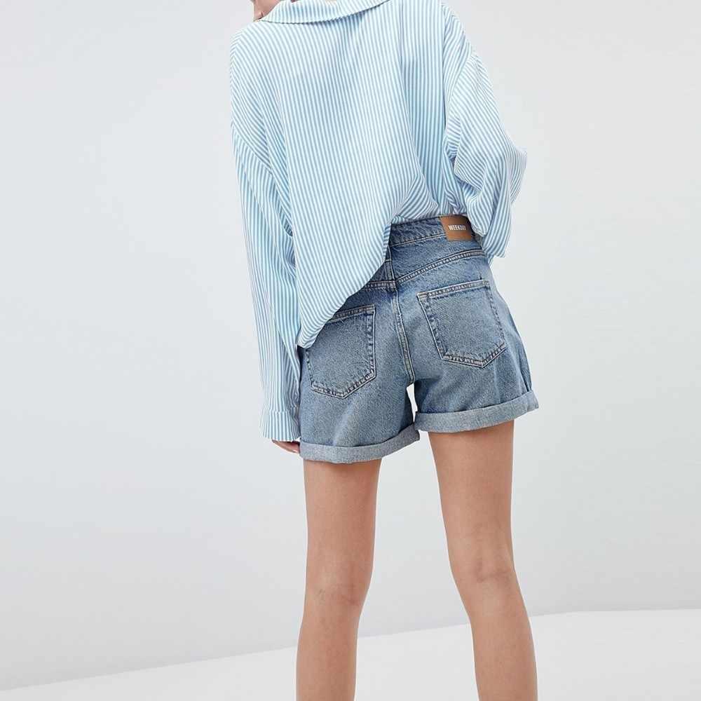 HDY Haoduoyi Femme lato stylowe Casual topy dziewczyny Sexy karbowany kołnierzyk niebieskie paski wygodne łatwe dopasowanie pokaż cienka bluzka
