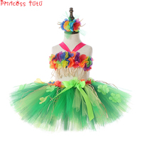 Fluffy Hula Girl Tutu 30cm Skirt And Top Kids Girl Hawaiian Beach Party Costume First Luau Birthday Outfit One Size Fits Mostly