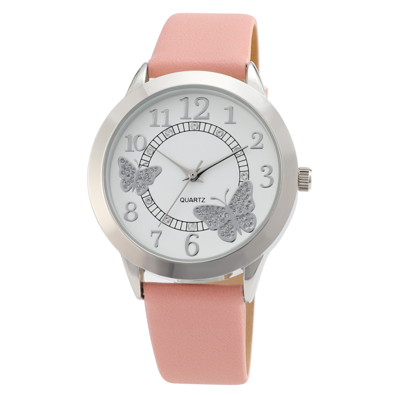 new authentic watch Women Special Butterflies and flowers Pattern comfortable leather strap fashionable and simple Watches