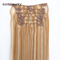 Clip in Human Hair Extensions Clip in Hair Extensions Remy Brazilian Hair 6PCS 100G Full Head Set