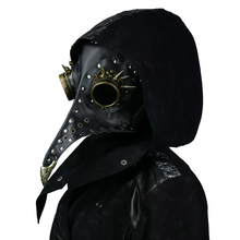 Steampunk Plague Doctors Mask PU Leather Long Nose Mask Cosplay Black Beak Mask Costume Props