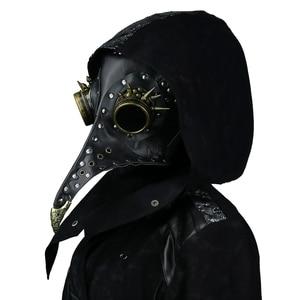 Image 1 - Steampunk Plague Doctors Mask PU Leather Long Nose Mask Cosplay Black Beak Mask Costume Props