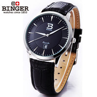 Fashion High Quality Watches Quartz men PU Leather Dress Watch Casual Clock Luxury Ladies 2017 New Arrival Binger Wristwatches