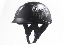 free Shipping Black Adult Open Face Half Leather font b Helmet b font Harley Moto Motorcycle