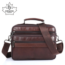 ZZNICK Men messenger bags luxury genuine leather men bag designer high quality shoulder bag casual zipper office bags for men