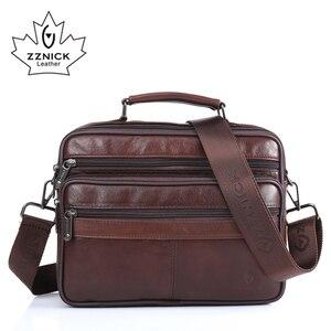 Image 1 - ZZNICK Men messenger bags luxury genuine leather men bag designer high quality shoulder bag casual zipper office bags for men