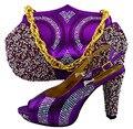 Zapatos de Italia Y Bolsos a juego Con Diamantes de Colores de Zapatos Africano Zapatos Con bolso a juego y Conjunto de Bolsas Nuevo Diseño Italiano MM1027