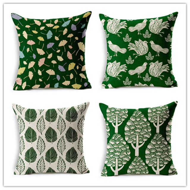 Hot Sale Plant Style Cotton Linen Cushions Leaves Pattern Fundas