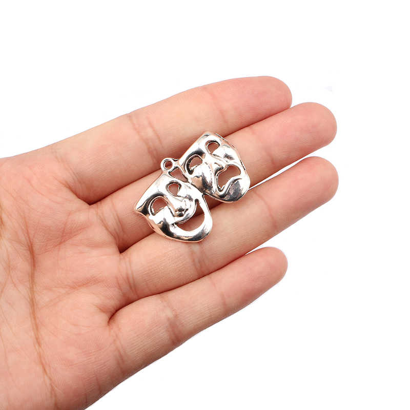 30PCS Antique Silver Tone Mask Theater Comedy Tragedy Art Joy and Pain Face Charm Pendant for Necklace Jewellry for Masquerade
