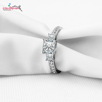 COLORFISH Three Stone silver Engagement rings Prong Set Princess Cut SONA Cubic Zirconia Ring Women 925 Sterling Silver Ring
